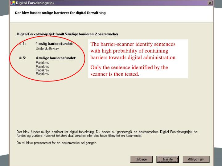The barrier-scanner identify sentences with high probability of containing barriers towards digital administration.