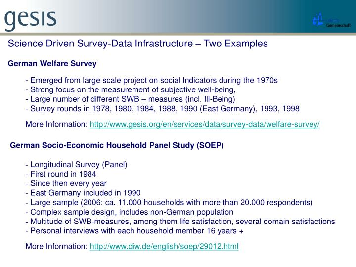 Science Driven Survey-Data Infrastructure – Two Examples