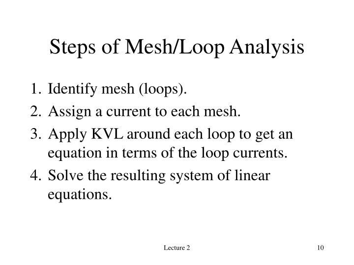 Steps of Mesh/Loop Analysis