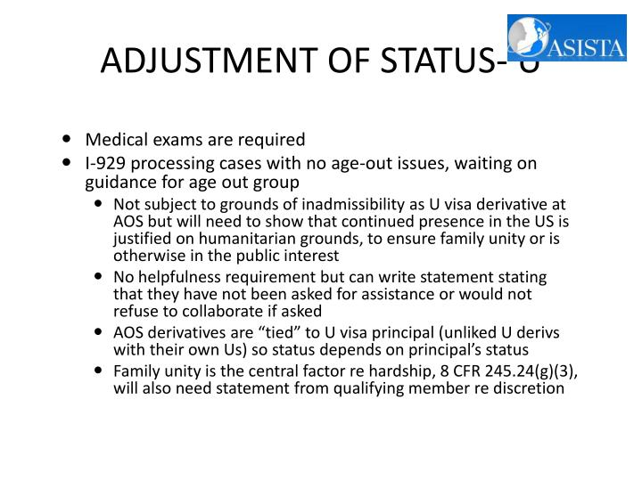ADJUSTMENT OF STATUS- U