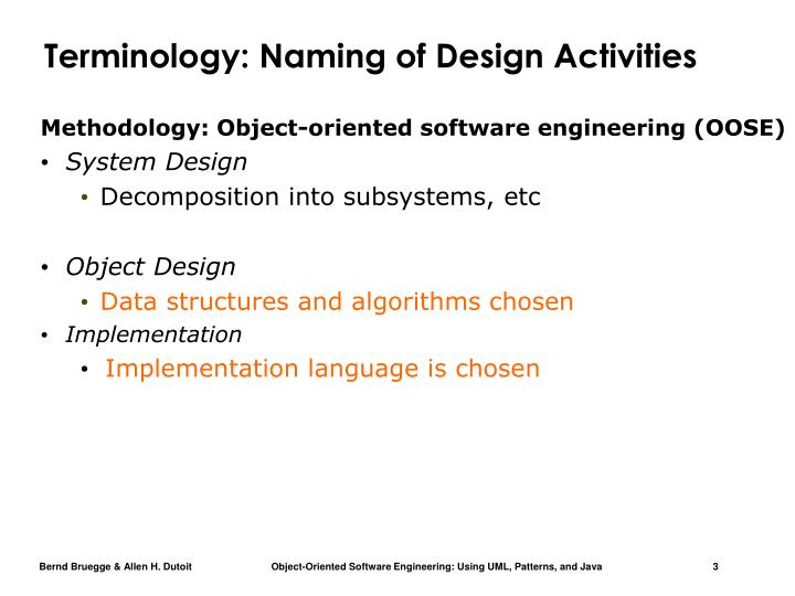 Terminology naming of design activities