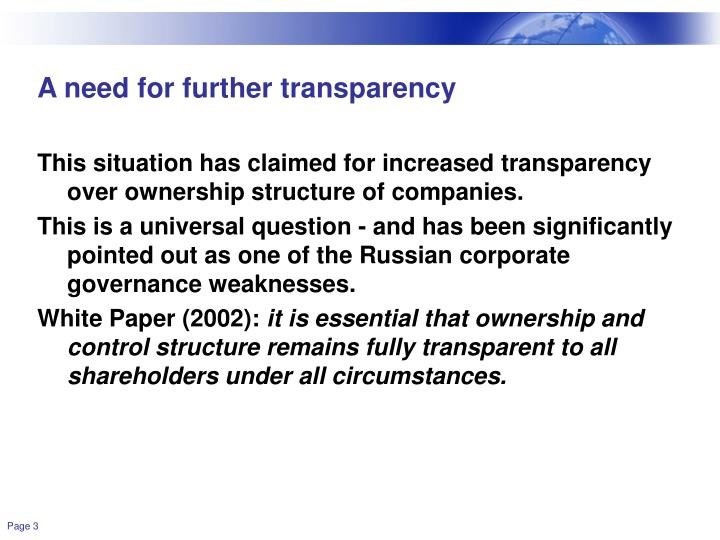 A need for further transparency