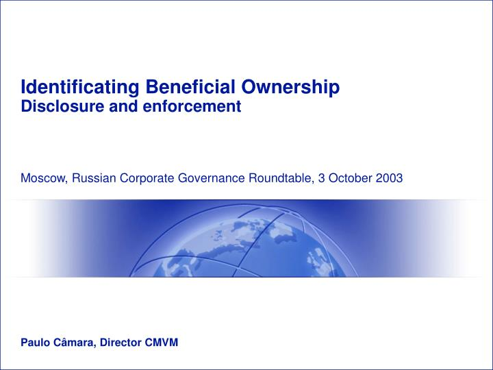 Identificating Beneficial Ownership