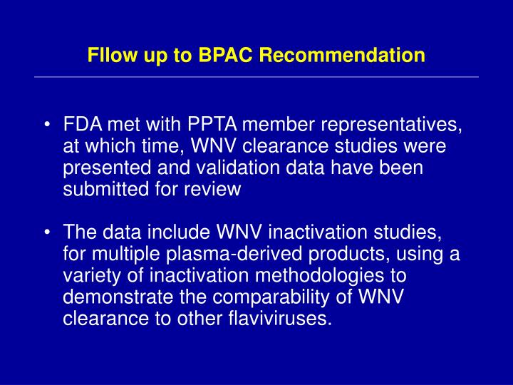 Fllow up to BPAC Recommendation