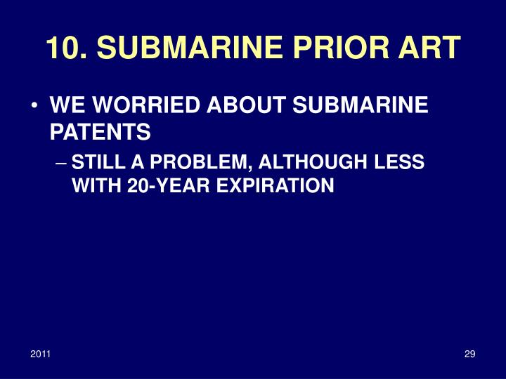 10. SUBMARINE PRIOR ART