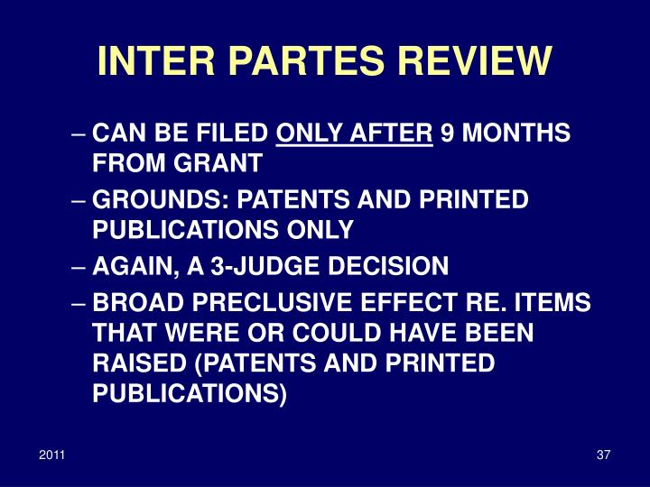 INTER PARTES REVIEW