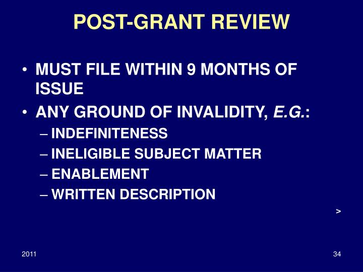 POST-GRANT REVIEW