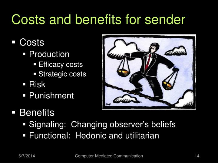 Costs and benefits for sender