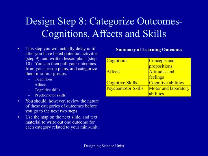 Design Step 8: Categorize Outcomes-Cognitions, Affects and Skills