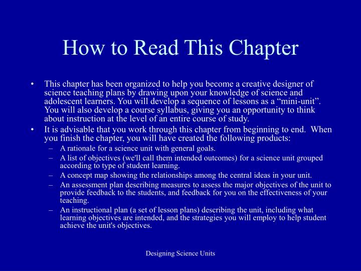 How to read this chapter