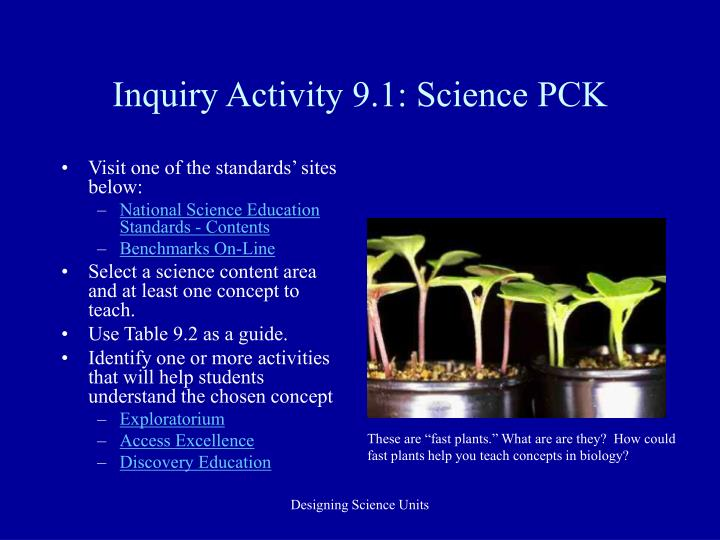 Inquiry Activity 9.1: Science PCK