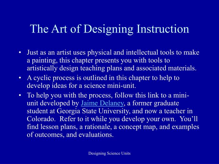 The Art of Designing Instruction
