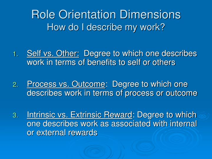 Role Orientation Dimensions