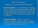 role orientation intrinsic vs extrinsic reward