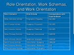 role orientation work schemas and work orientation