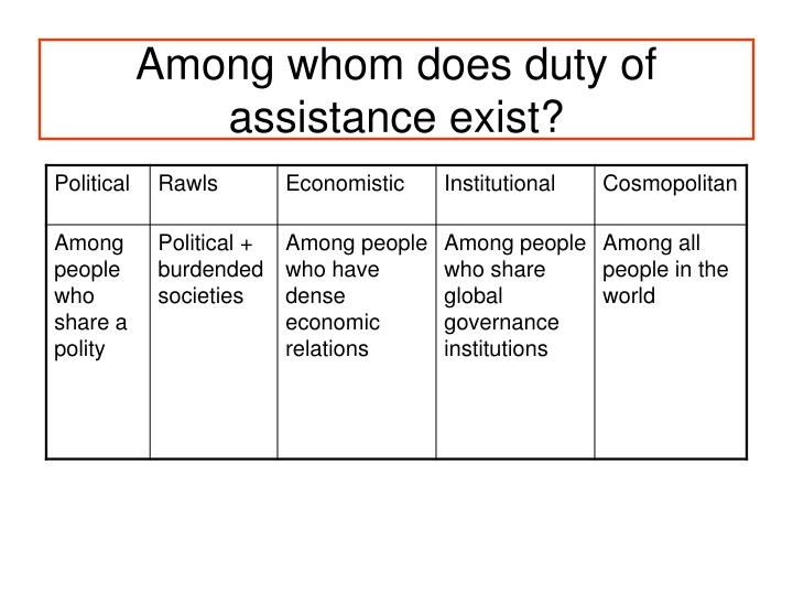 Among whom does duty of assistance exist?