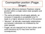 cosmopolitan position pogge singer