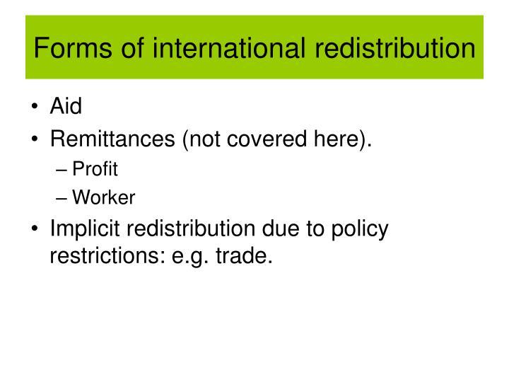 Forms of international redistribution
