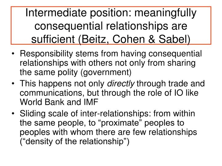 Intermediate position: meaningfully consequential relationships are sufficient (Beitz, Cohen & Sabel)