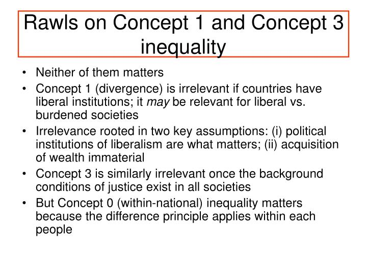 Rawls on Concept 1 and Concept 3 inequality