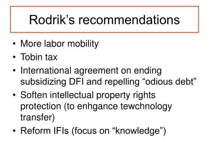 Rodrik's recommendations
