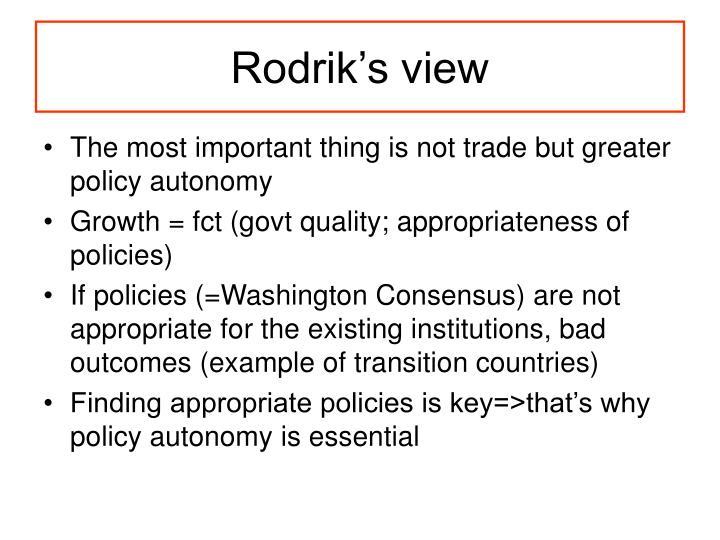 Rodrik's view