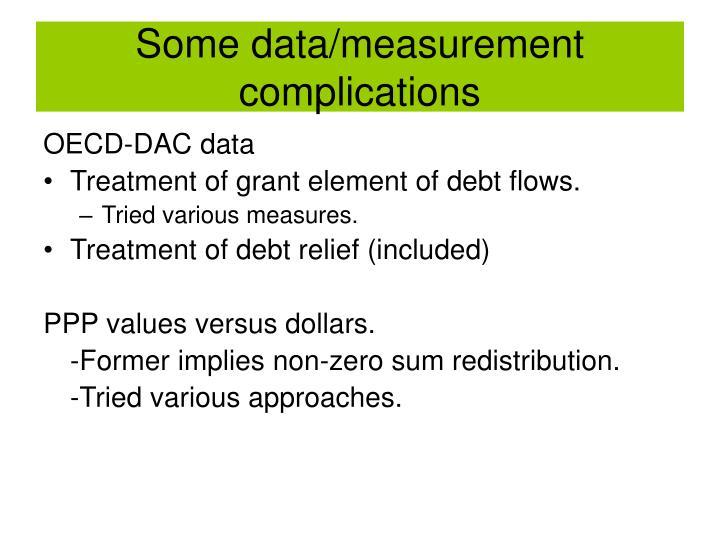 Some data/measurement complications