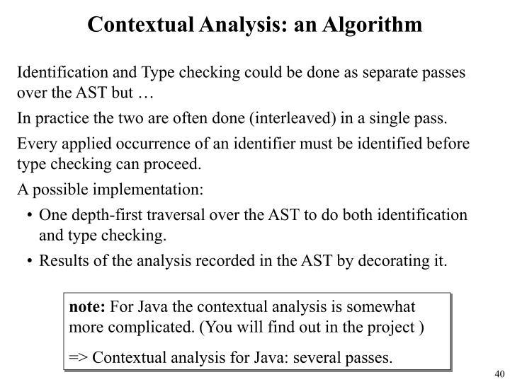 Contextual Analysis: an Algorithm