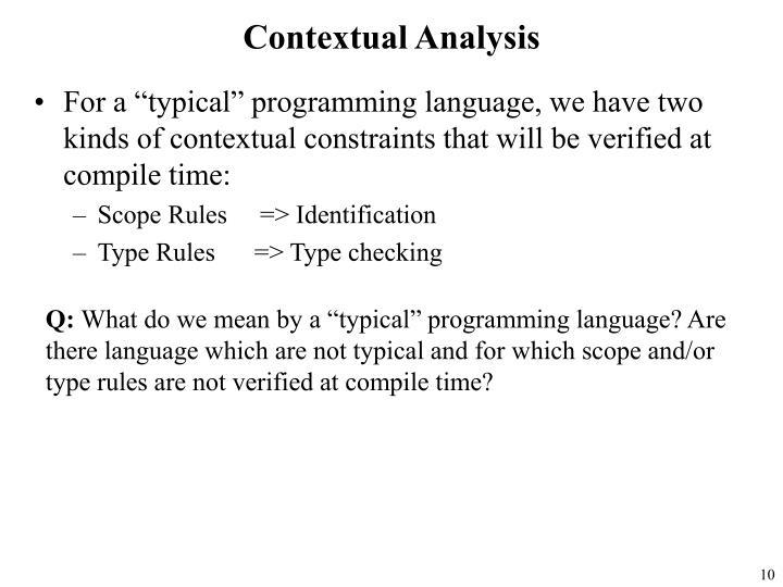 Contextual Analysis