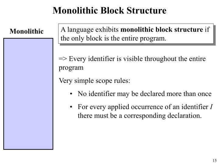 Monolithic Block Structure