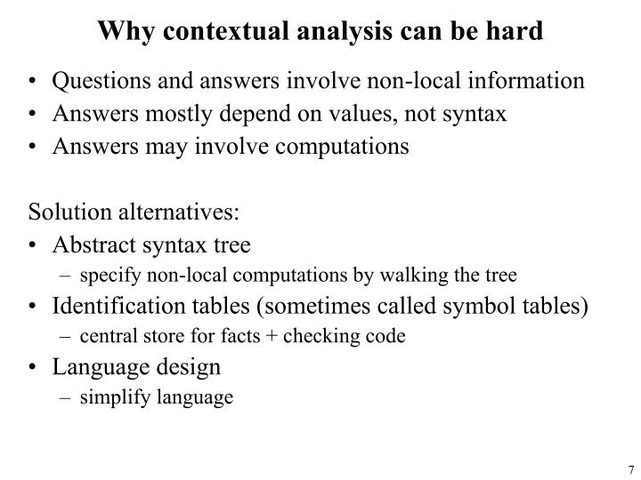 Why contextual analysis can be hard