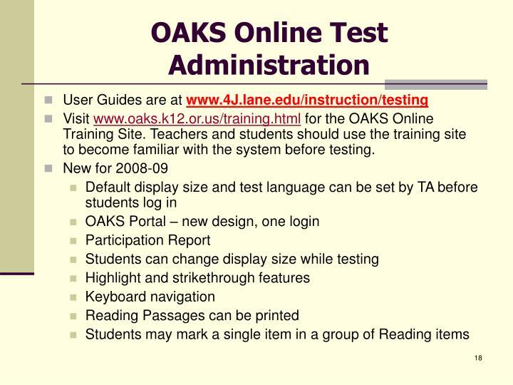 OAKS Online Test Administration