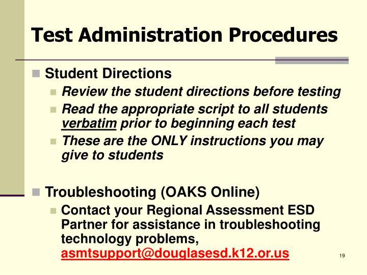 Test Administration Procedures