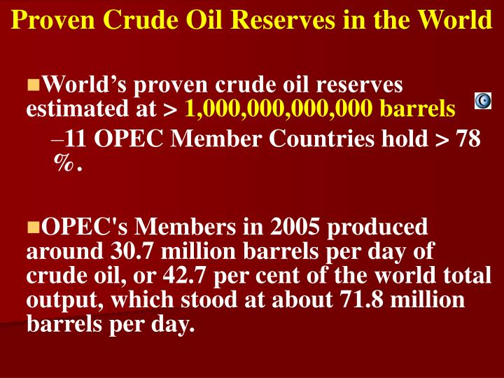 Proven Crude Oil Reserves in the World