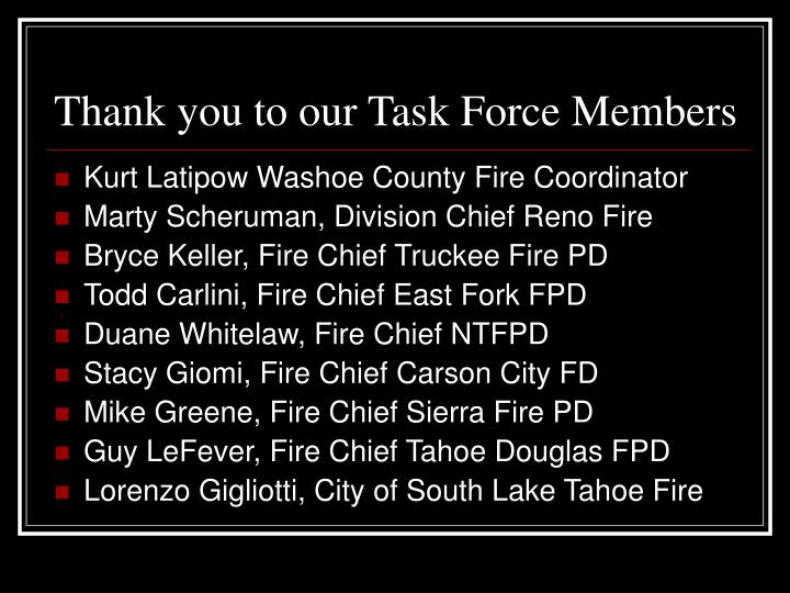 Thank you to our Task Force Members