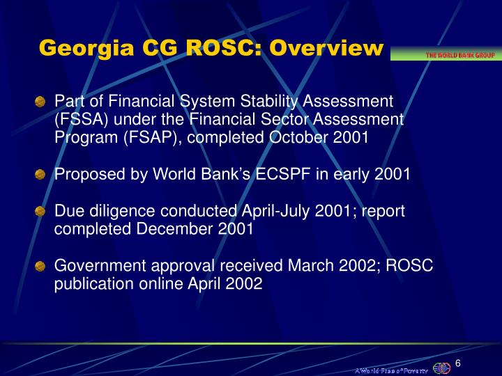 Georgia CG ROSC: Overview