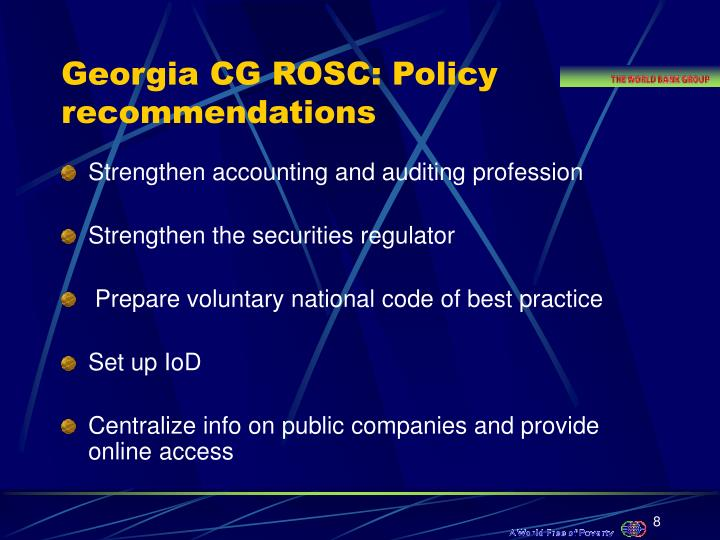 Georgia CG ROSC: Policy recommendations