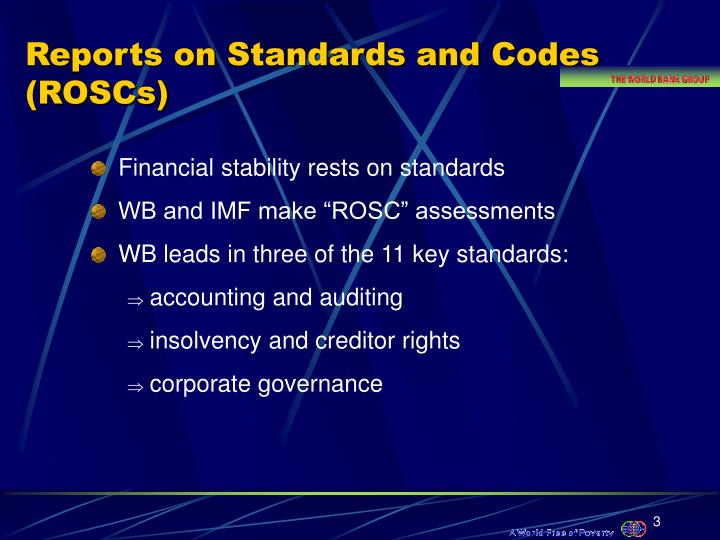 Reports on standards and codes roscs