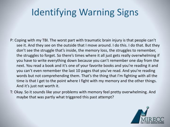 Identifying Warning Signs