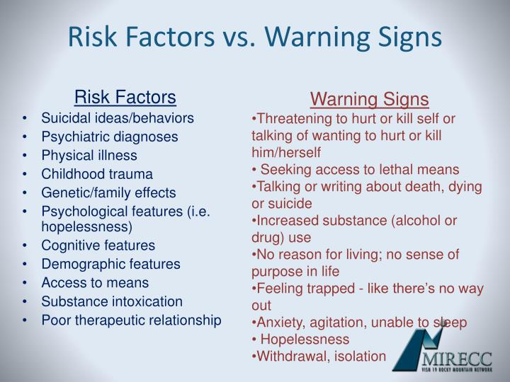 Risk Factors vs. Warning Signs