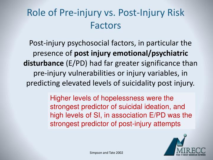 Role of Pre-injury vs. Post-Injury Risk Factors