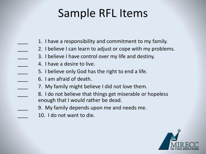 Sample RFL Items