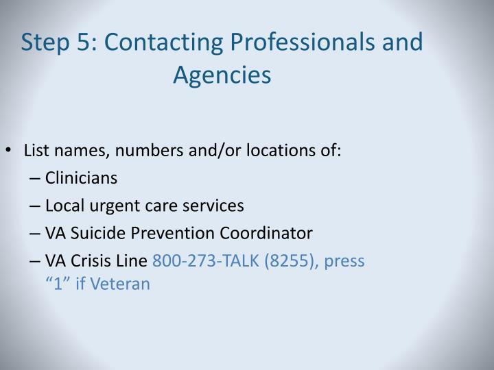 Step 5: Contacting Professionals and Agencies