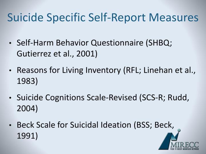 Suicide Specific Self-Report Measures