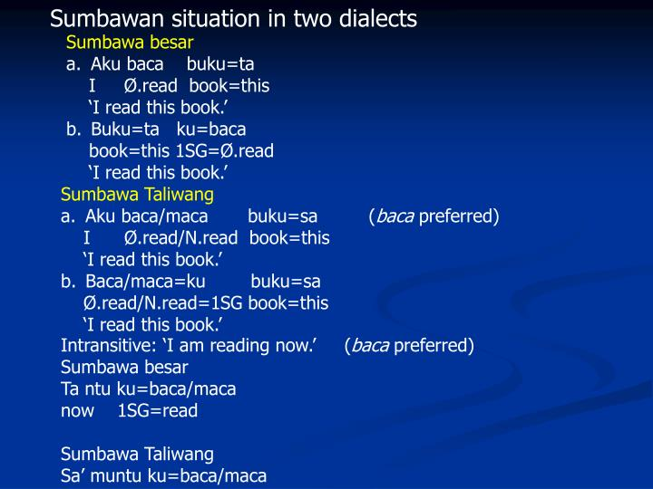 Sumbawan situation in two dialects
