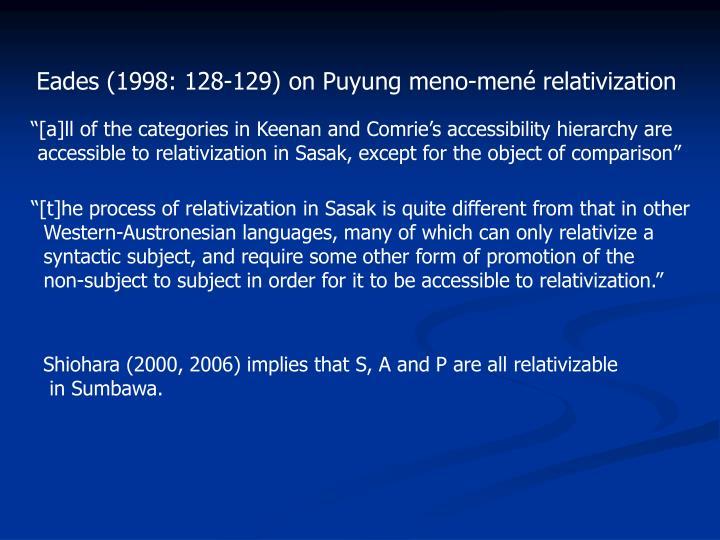 Eades (1998: 128-129) on Puyung meno-mené relativization