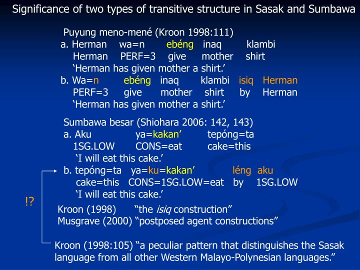 Significance of two types of transitive structure in Sasak and Sumbawa