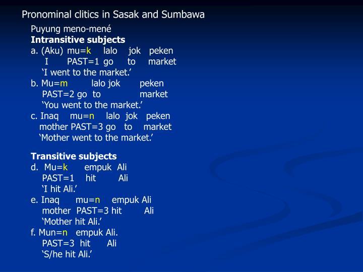 Pronominal clitics in Sasak and Sumbawa