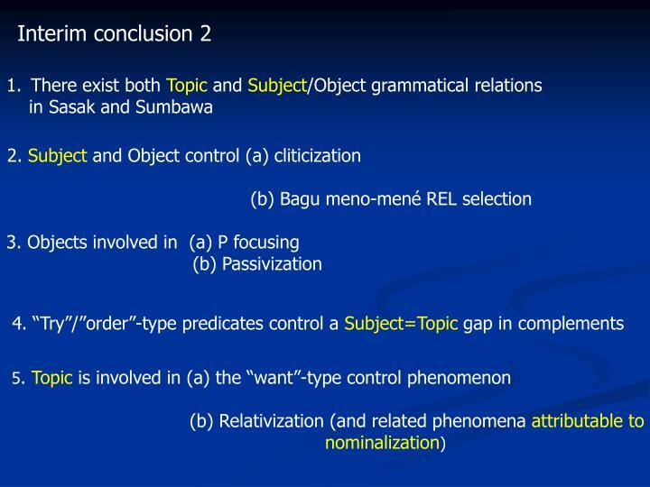 Interim conclusion 2