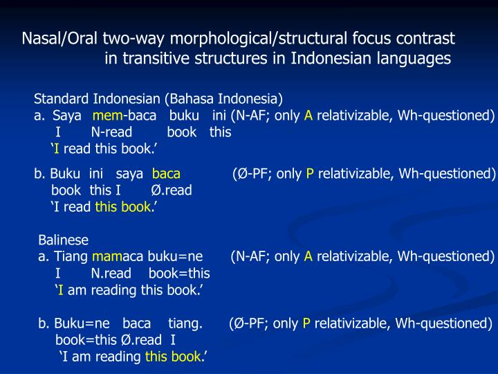 Nasal/Oral two-way morphological/structural focus contrast